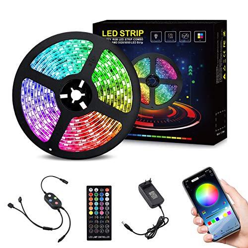 Nigecue 5M Bluetooth LED Strip, 5050SMD RGB Led Streifen Steuerbar via App, LED Band Dimmbar, 40-Tasten Fernbedienung und Steuerbox, Sync mit Musik, 16 Millionen Farben, Timermodus