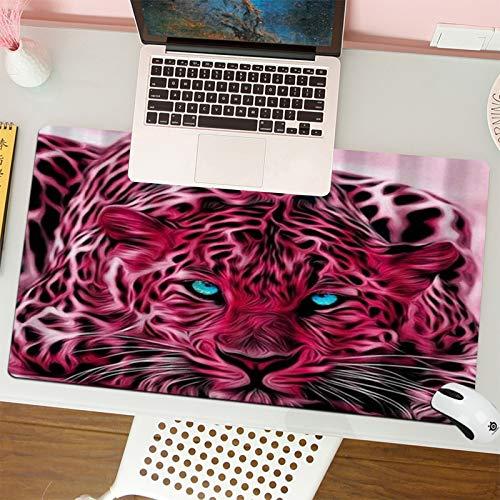 Alfombrilla para ratón (80x30 cm). Animales Salvajes Leopardo Rosa con Ojos Azules,Base Antideslizante. Especial para Gamer