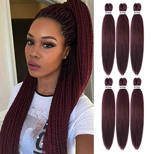 "Pre Stretched Braiding Hair 22"" Yaki Texture Braid Hair Extensions 6Pcs/Lot Mixed Color Hot Water Setting Crochet Twist Hair(99J)"