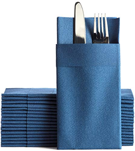 Navy Dinner Napkins Cloth Like with Built-in Flatware Pocket, Linen-Feel Absorbent Disposable Paper Hand Napkins for Kitchen, Bathroom, Parties, Weddings, Dinners or Events, 16x16 inches, Pack of 50