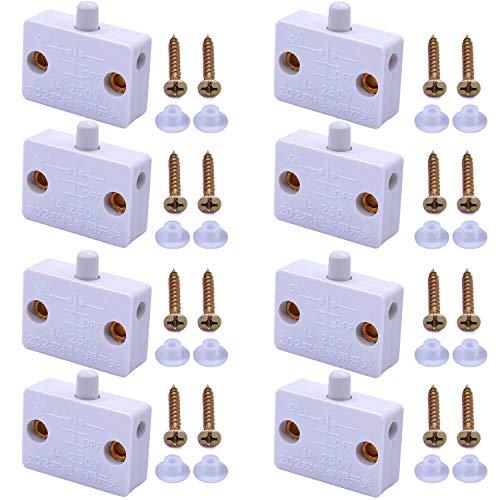 RUNCCI-YUN 8 Piezas Interruptor de Contacto para Puerta de Mueble 1A 250V Iluminación Interruptor Automático para Luz de Gabinete Armario(Blanco)