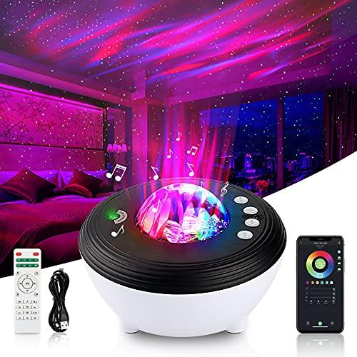 LED Sternenhimmel Projektor Kinder Aurora, Smart Sternenprojektor RGB Dimming Sternenlicht Projektor Nachtlicht mit Weißes Rauschen & Timer, WiFi Galaxy Projector Kompatibel Alexa, Google Assistant
