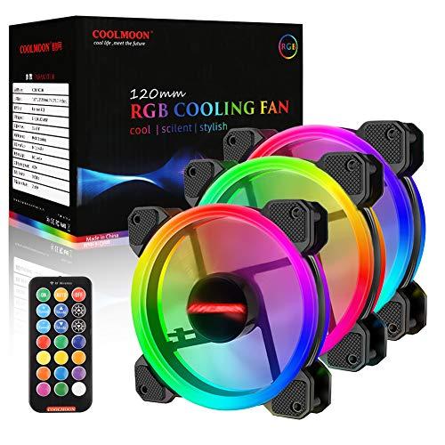 HOSPAOP Gehäuselüfter RGB PWM Lüfter mit LED Streifen, RGB Lüfter 120mm, RGB LED Gehäuselüfte, RGB Motherboard Synchronisierung mit 10 Port Hub X und Remote-3Pack