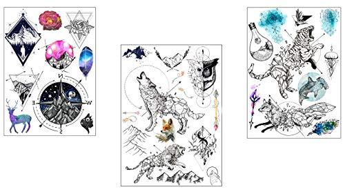 Set de tatouage d'animaux, 3 feuillet, loup, tigre, aigle