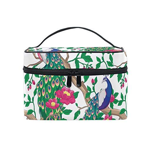Ahomy Trousse de toilette portable avec poignée Motif fleurs de paon