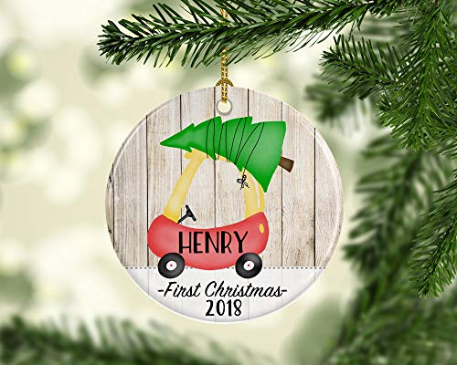 cwb2jcwb2jcwb2j 2018 First Christmas Ornament for Baby Newborn Ornament with Toddler Coupe Cute 1st Christmas Ornament for Baby Car with Tree Ornament 3-inch(8 cm)