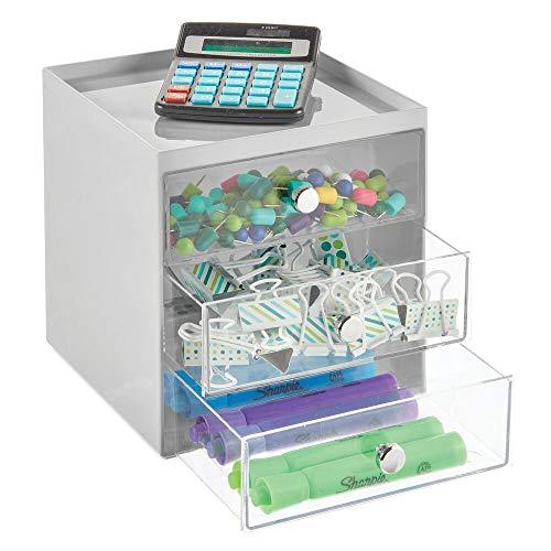mDesign Organizador de Escritorio con 3 cajones – Cajonera pequeña para bolígrafos, Clips, Notas, etc. – Compacto gavetero de plástico para Mesa de Oficina – Gris y Transparente