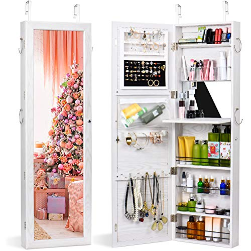 TWING Jewelry Armoire Cabinet Wall Door Mounted Jewelry Armoire with Full-Length Mirror Lockable Large Jewelry Organizer(White)
