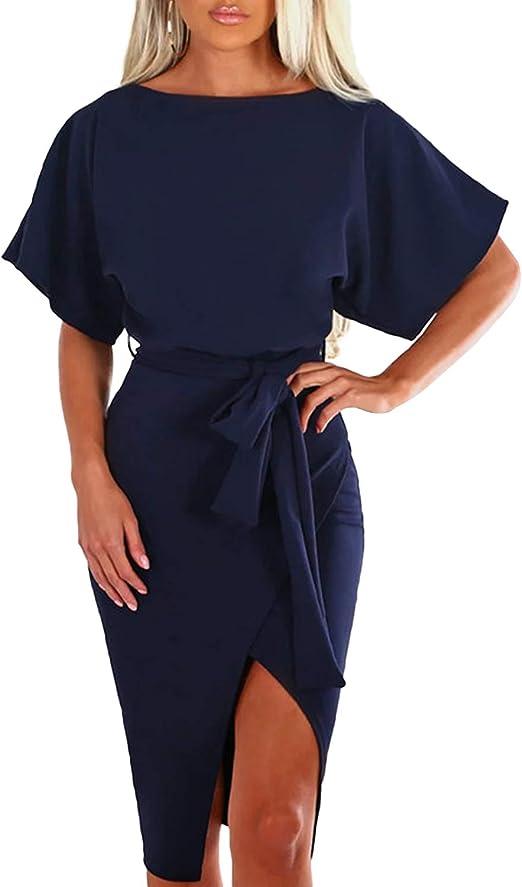 Yoins Elegant Damen Kleid Sommer Knielang Kleid Partykleider Kurzarm Bogen Cocktailkleid Sexy Sommerkleid Amazon De Bekleidung