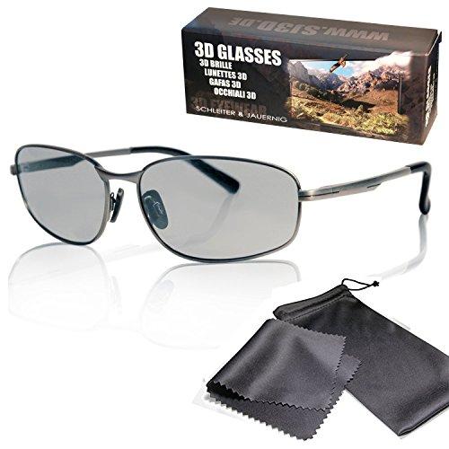 SJ3D Passive 3D Brille – sportlich geschnittener Metallrahmen, hochwertig - Polfilterbrille zirkular polarisiert - Für RealD 3D Kino & TV: LG Cinema 3D Philips Easy 3D Telefunken Toshiba 3D Natural Vizio 3D und 3DTVs von SONY Grundig Panasonic Hisense CMX uvm. - Inkl. Mikrofaser Brillenbeutel und Putztuch