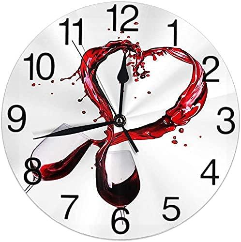 Gafas de vino tinto corazón Splash día de San Valentín reloj de pared redondo silencioso sin garrapatas funciona con pilas, fácil de leer para estudiante, oficina, escuela, hogar, reloj decorativo