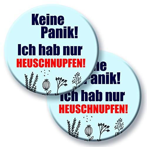 Polarkind Button Set Anstecker mit Spruch Keine Panik! Ich hab nur Heuschnupfen Geschenk Allergiker Hinweis Nicht infiziert 59mm