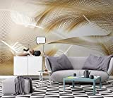 Papel Pintado 3D Líneas Abstractas De Plumas Doradas De Lujo Fotomural 3D Murales Papel Tapiz Pared de Fondo de TV Wallpaper-350cmX250cm