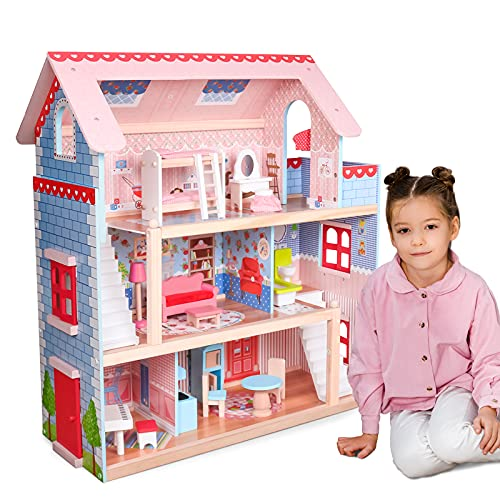 Infantastic® Puppenhaus aus Holz mit LED - 3 Spielebenen, Möbeln/Zubehör, für 13cm große Puppen - Puppenvilla, Dollhouse Kinder Spielzeug für Kinderzimmer und Schlafzimmer, für Mädchen und Jungen