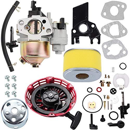 Kizut GX140 Carburetor + Air Filter + Recoil Rewind Starter Asseembly Repair Rebuild Kit for Honda GX 160 GX160 5.5 HP GX 200 GX200 6.5 HP Engine Carb Pressure Washer Motor