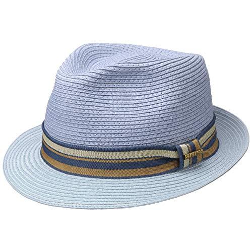 Stetson Licano Toyo Trilby Strohhut Sommerhut Sonnenhut Strandhut Herren - mit Ripsband Frühling-Sommer - XL (60-61 cm) hellblau