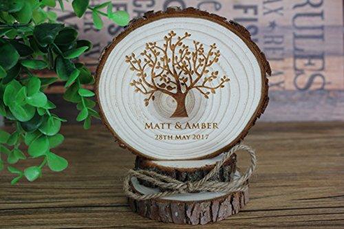 Rústico de madera árbol país personalizable boda de tartas de boda figuras de madera