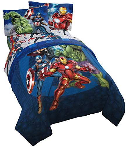 Jay Franco Marvel Avengers Blue Circle Bed Set, Full