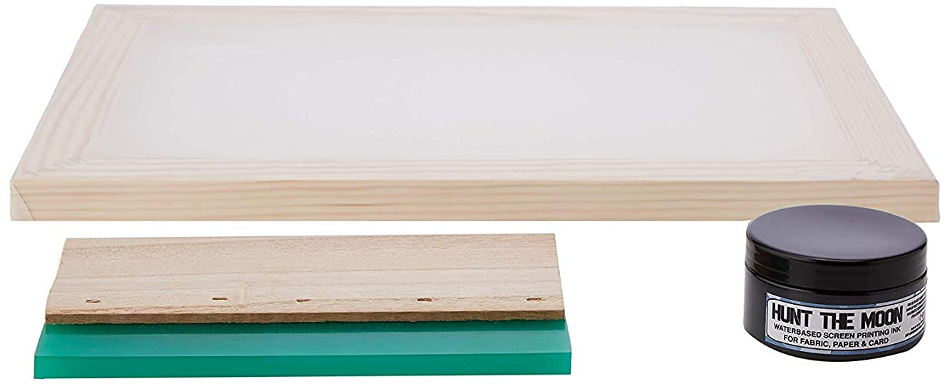 Hunt The Moon Screen Printing Frame Ink and Squeegee Kit, Wooden, Medium A4 120t
