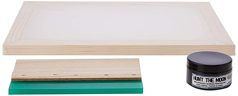 Hunt The Moon Screen Printing Frame Ink and Squeegee Kit, Wooden, Large A3 77t