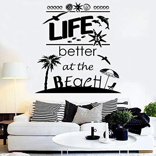 XCSJX Pegatinas de Pared ofrecen Vida en la Playa Mejores calcomanías Pegatinas para sillas de Palma Concha delfín decoración del hogar decoración de Vacaciones Gaviota 47x48 cm