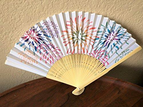 Daiso Japanese Folding Fan (Sensu): Watercolor Fireworks: White: Fireworks drawing Fireworks Painting