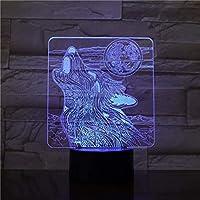 3Dビジュアルナイトライトキッズナイトライトウルフうなり声7色モダンランプデスク装飾ランプ子供のための素晴らしいギフトUsb充電