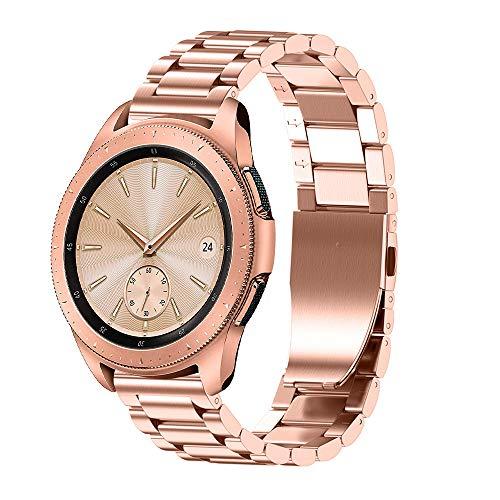 MuSheng For Samsung Galaxy Watch 42MM Armband Band, 195MM Mode Sport Edelstahl Ersatz Bügel Armband Mit Justieren Reparatur Werkzeug für Samsung Galaxy Watch 42mm (Rose Gold)