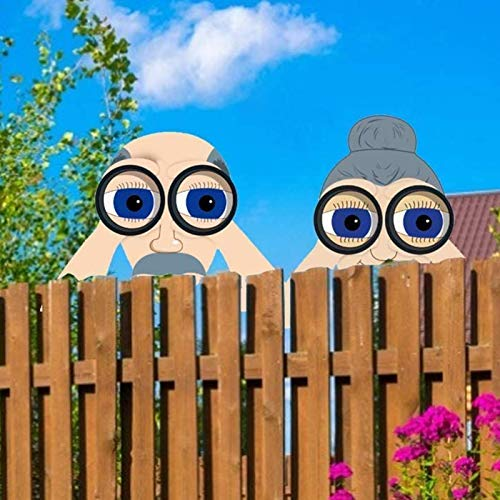Nosy Old Man And Lady Yard Sign - Fence Outdoor Hanging Decoration - Cute Lifelike Peeking Neighbor Sculpture, Yard Art Garden Outside Decor Gift 11 Inch (Size : Cute Man Lady)