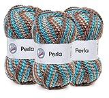 Woll-Set 'Perla' Farbe Beach 3er-Set Wolle zum Stricken und Häkeln, je Knäuel 100g (15)