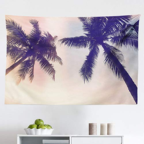 Lunarable Palm Tree Tapestry, Unusual Toned Trees Sun Flare Californian Inspirations Artwork Print, Fabric Wall Hanging Decor for Bedroom Living Room Dorm, 45' X 30', Pink Brown