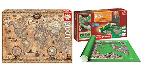 Pack Puzzle Educa 15159. Mapa del Mundo Antiguo. 1000 piezas + Tapete universal Puzzle Roll 2000 piezas. 60165/64239