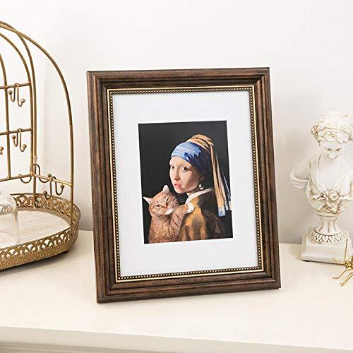 QKEMM Family Bilderrahmen Modern Souvenir Bilderrahmen Harz Set Den Tisch+Hängen An Der Wand 10,2×15,2cm Kaffee