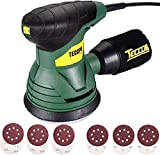 TECCPO Eccentric Sander, 350W, 14,000 RPM, Supplied with 12pcs 125mm Sanding Disc (Abrasive Grit 80, 180) for polishing wood also metal, TARS22P DIY