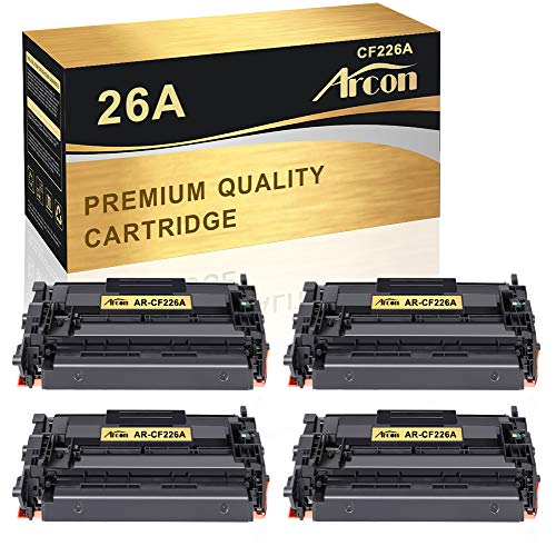 Arcon Compatible Toner Cartridge Replacement for HP 26A CF226A 26X CF226X M402n MFP M426fdw HP Laserjet Pro M402n MFP M426fdw M402dn M402dw MFP M426fdn M426dw Printer Ink 26A CF226A Toner -4Pack