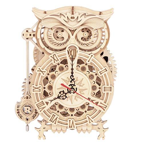 Garneck Puzzle de madera 3D búho Kit DReloj de Estilo Europeo Reloj Besk Juguete educativo y de ingeniería para adolescentes y adultos, regalo de Navidad