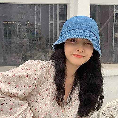 Cowboy Fischer hoed vrouwelijke zonnecrème zonwering afdekking emmer hoed Koreaanse vaas wild One size (56-58cm) lichtblauw