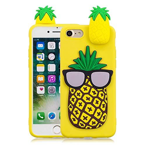 Keteen Cover per iPhone 7, iPhone 8 Custodia, 3D Carino Animale TPU Silicone Bumper Colore della Caramella Flessibile Morbido Anti Graffio Protettiva Case Slim Anti Scivolo Magro Cover - Ananas