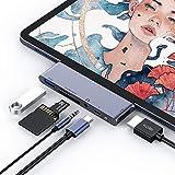 6 in 1 USB C Hub für iPad Pro 2018 2019 2020, USB C auf 4K HDMI Adapter mit USB 3.0, SD/TF Kartenleser, 3,5 mm Kopfhöreranschluss, PD-Ladegerät, USB C Adapter kompatibel mit iPad Pro und mehr (Silber)