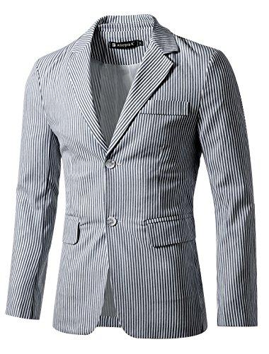uxcell Men's Striped Sport Coat Notched Lapel Slim Fit Business Blazer Suit Jacket 42 Navy White