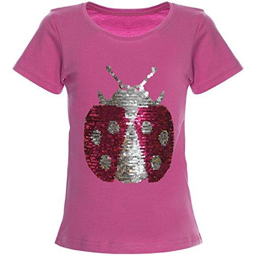 Mädchen Wende-Pailletten T-Shirt Bluse Kurzarm Shirt 21356 Pink Größe 152