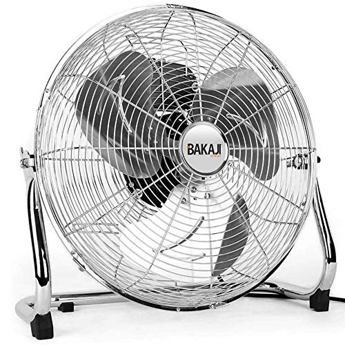 Bakaji Ventilatore Da Terra In Metallo Potenza 100 Watt Con Pale 50 cm in Alluminio Inclinabili e Motore a 3 Velocità