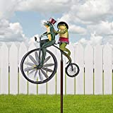 Lxiuerh Metal Wind Spinner & Sculptures,Creative Bicycling Cute Windmill with Pole Vintage Bicycle Frog & Cat Wind Spinner On Bike Yard Lawn Figurine Decoration (Frog with Pole)