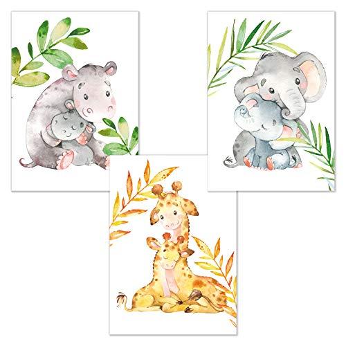 kizibi Juego de 3 elefantes hipopótamo jirafa animales DIN A4 póster para habitación de niños y bebés, póster decorativo para niños y niñas, acuarela habitación infantil