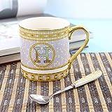 Tazza da caffè in Ceramica Tazza da caffè Europea Originalità Bone China Lettere Dorate tè Nero Tazza da tè Ufficio Luce Lussi Tazas Copos-Golden_300Ml
