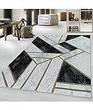 Ayyildiz Teppiche Alfombra con diseño de mármol, líneas abstractas, dorada, 120 x...