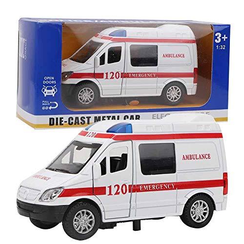 Atyhao Juguete de Ambulancia de Rescate, 1:32 Coche de Juguete de Ambulancia con luz y Efectos de Sonido de Sirena Mini estimulación Aleación Coche de Ambulancia Sonido y Modelo Ligero Vehículo(Rojo)