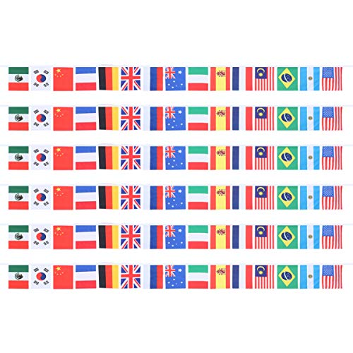 Garneck 6 Stks Landen Bunting Vlaggen Polyester Internationale Vlaggen Landen String Vlag Wereldvlaggen Banner voor Olympische Spelen Sport
