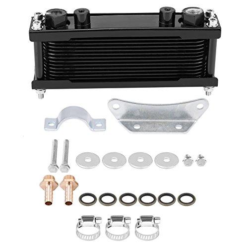 Motorrad Motorölkühler, Keenso Universal Upgrade Aluminium Motorrad Motorölkühler Ölkühler mit Montagezubehör 50CC-200CC(Schwarz)