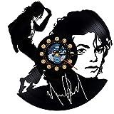 TeenieArt Reloj De Pared De Vinilo De Michael Jackson De 30 Cm, Decoración Artística Única para Los Fanáticos De Michael Jackson, Regalo Original para Decoración del Hogar Sin Led